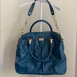 COACH Blue Smoke Teal Leather Handbag